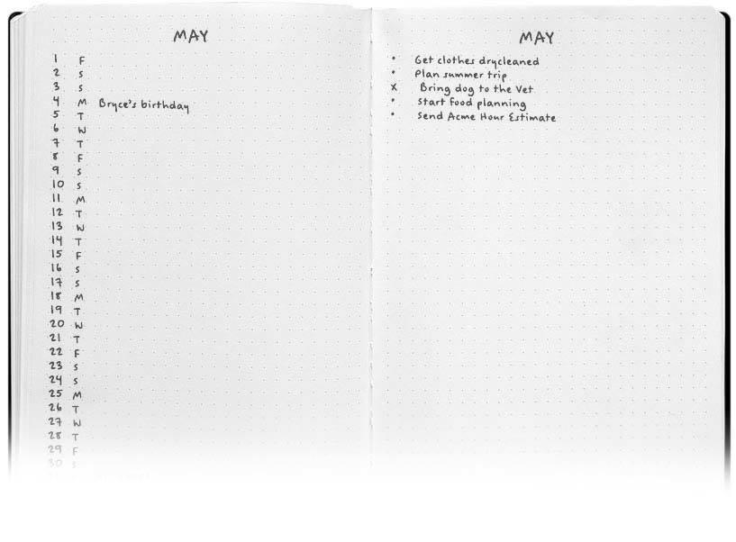 Bullet Journal libreta - vista mensual