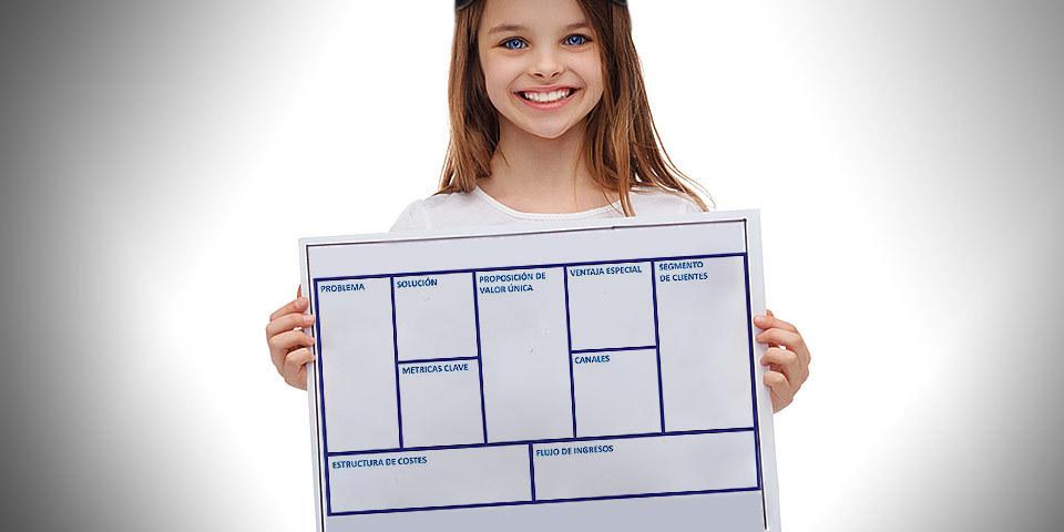foto de niña repelente con una plantilla de Lean Canvas