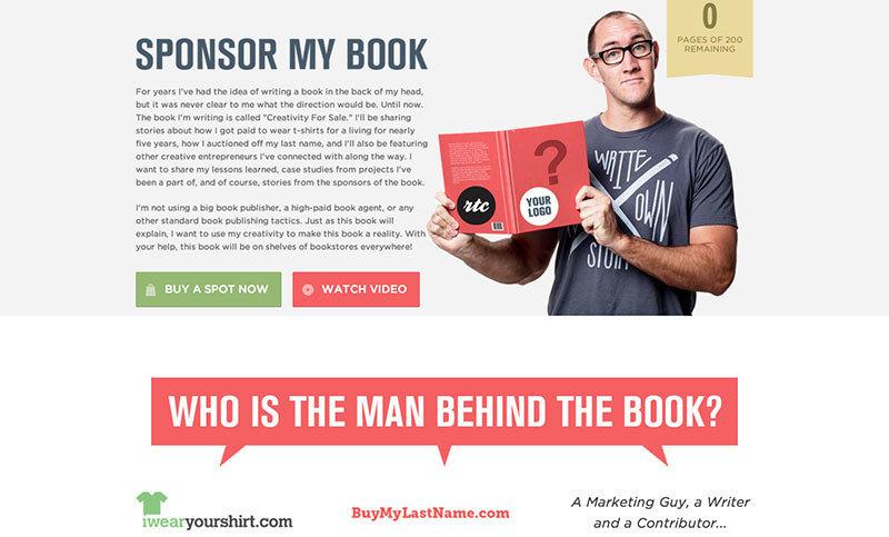 Sponsor My Book, ejemplo de idea creativa